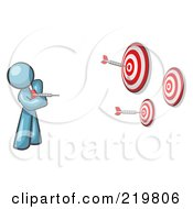 Royalty Free RF Clipart Illustration Of A Denim Blue Design Mascot Man Throwing Darts At Targets by Leo Blanchette