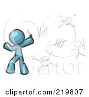 Royalty Free RF Clipart Illustration Of A Denim Blue Design Mascot Man Writing Tribal Designs On A Wall by Leo Blanchette
