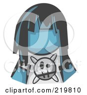 Royalty Free RF Clipart Illustration Of A Denim Blue Woman Avatar Grumpy Girl