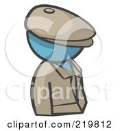 Royalty Free RF Clipart Illustration Of A Denim Blue Man Avatar Detective
