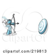 Royalty Free RF Clipart Illustration Of A Denim Blue Man Aiming A Bow And Arrow At A Target During Archery Practice