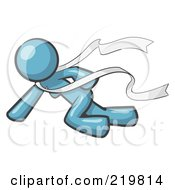 Royalty Free RF Clipart Illustration Of A Denim Blue Design Mascot Woman Finishing First In A Race by Leo Blanchette
