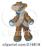 Denim Blue Design Mascot Man Cowboy Adventurer