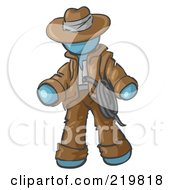 Royalty Free RF Clipart Illustration Of A Denim Blue Design Mascot Man Cowboy Adventurer