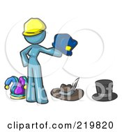Royalty Free RF Clipart Illustration Of A Denim Blue Design Mascot Woman With Many Hats