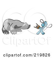 Denim Blue Man Holding A Stool And Whip While Taming A Bear Bear Market by Leo Blanchette