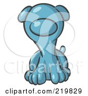 Royalty Free RF Clipart Illustration Of A Cute Denim Blue Puppy Dog Looking Curiously At The Viewer