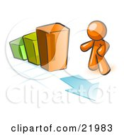 Clipart Picture Illustration Of An Orange Man Standing By An Increasing Green Yellow And Orange Bar Graph On A Grid Background With An Arrow by Leo Blanchette