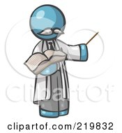 Royalty Free RF Clipart Illustration Of A Denim Blue Man Professor Holding A Pointer Stick And An Open Book