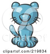 Royalty Free RF Clipart Illustration Of A Cute Denim Blue Kitty Cat Looking Curiously At The Viewer