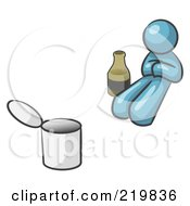 Royalty Free RF Clipart Illustration Of A Denim Blue Design Mascot Man Bum With Alcohol And A Can