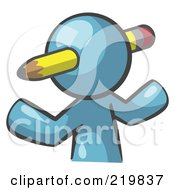 Royalty Free RF Clipart Illustration Of A Denim Blue Man Avatar Writer With A Pencil Through His Head