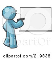Royalty Free RF Clipart Illustration Of A Denim Blue Design Mascot Man Writing On A White Board