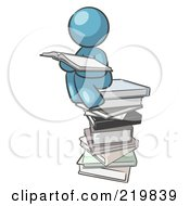 Denim Blue Design Mascot Man Reading On A Stack Of Books by Leo Blanchette