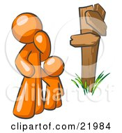 Clipart Picture Illustration Of An Uncertain Orange Man And Child Standing At A Wooden Post Trying To Decide Which Direction To Go At A Crossroads by Leo Blanchette