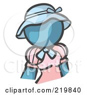 Royalty Free RF Clipart Illustration Of A Denim Blue Woman Avatar In A Pink Dress And Blue Hat by Leo Blanchette