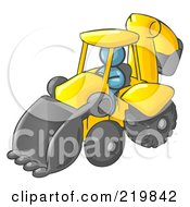 Royalty Free RF Clipart Illustration Of A Denim Blue Man Operating A Yellow Backhoe Machine At A Construction Site by Leo Blanchette
