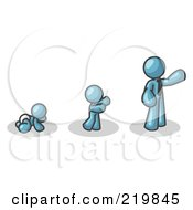 Royalty Free RF Clipart Illustration Of A Denim Blue Man In His Growth Stages Of Life As A Baby Child And Adult