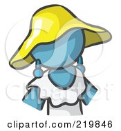 Royalty Free RF Clipart Illustration Of A Denim Blue Woman Avatar In A White Dress And Yellow Hat by Leo Blanchette