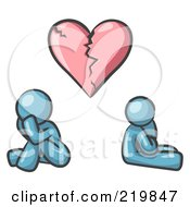 Royalty Free RF Clipart Illustration Of A Denim Blue Design Mascot Man And Woman Under A Broken Heart by Leo Blanchette