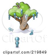Royalty Free RF Clipart Illustration Of A Denim Blue Design Mascot Man Watching Others Fall From The Family Tree