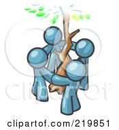 Royalty Free RF Clipart Illustration Of A Group Of 4 Denim Blue Men Standing In A Circle Around A Tree