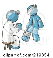 Royalty Free RF Clipart Illustration Of A Denim Blue Male Doctor In A Lab Coat Sitting On A Stool And Bandaging A Patient That Has Been Hurt On The Head Arm And Ankle