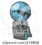 Royalty Free RF Clipart Illustration Of A Denim Blue Man Businessman Avatar Wearing Shades