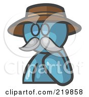 Royalty Free RF Clipart Illustration Of A Denim Blue Man Avatar Professor With A Mustache