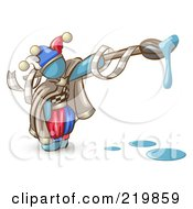 Royalty Free RF Clipart Illustration Of A Denim Blue Man Design Mascot Jester With A Dripping Paintbrush by Leo Blanchette