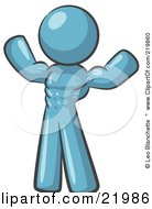 Royalty Free RF Clipart Illustration Of A Purple Bodybuilder Man Flexing His Muscles And Showing The Definition In His Abs Chest And Arms