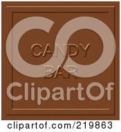 Royalty Free RF Clipart Illustration Of A Milk Chocolate Square With Candy Bar Imprint by Arena Creative