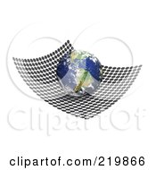 Royalty Free RF Clipart Illustration Of A 3d Globe Featuring South America On A Net Of Black Circles by Arena Creative