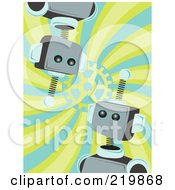 Royalty Free RF Clipart Illustration Of Blue And Metal Robot Faces Over A Swirl Background by mheld