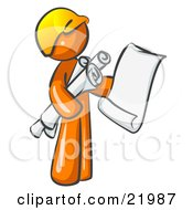 Clipart Picture Illustration Of An Orange Man Contractor Or Architect Holding Rolled Blueprints And Designs And Wearing A Hardhat