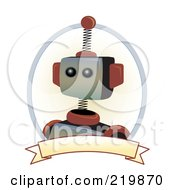 Royalty Free RF Clipart Illustration Of A Brown And Metal Robot Face With A Blank Banner