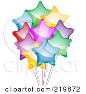 Royalty Free RF Clipart Illustration Of A Bunch Of Shiny Colorful Star Balloons And Ribbons by elaineitalia