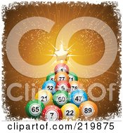Royalty Free RF Clipart Illustration Of A Christmas Tree Of Colorful Bingo Balls And A Golden Star On Gold Rays by elaineitalia