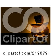 Royalty Free RF Clipart Illustration Of An Evil Jackolanternswith A Hat And Spider by elaineitalia