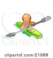Orange Man Paddling Down A River In A Green Kayak