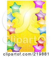 Royalty Free RF Clipart Illustration Of A Background Of Colorful Star Balloons Over Yellow Sunshine by elaineitalia