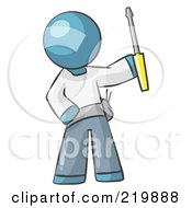 Royalty Free RF Clipart Illustration Of A Denim Blue Man Electrician Holding A Screwdriver