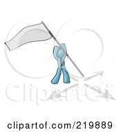 Royalty Free RF Clipart Illustration Of A Denim Blue Man Claiming Territory Or Capturing The Flag