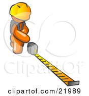 Clipart Picture Illustration Of An Orange Man Contractor Wearing A Hardhat Kneeling And Measuring