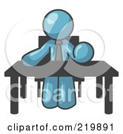 Royalty Free RF Clipart Illustration Of A Denim Blue Businessman Seated At A Desk Instructing Employees