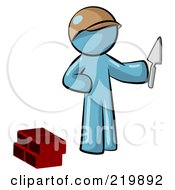 Royalty Free RF Clipart Illustration Of A Denim Blue Man Brick Layer Holding A Trowel