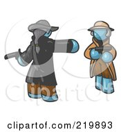 Royalty Free RF Clipart Illustration Of A Denim Blue Man Challenging Another Denim Blue Man To A Duel With Pistils by Leo Blanchette