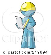 Royalty Free RF Clipart Illustration Of A Denim Blue Man Draftsman Reviewing Plans