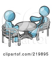 Royalty Free RF Clipart Illustration Of Two Denim Blue Business Men Sitting Across From Eachother At A Table During A Meeting
