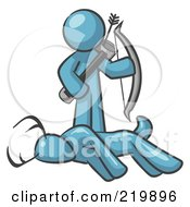 Royalty Free RF Clipart Illustration Of A Denim Blue Man A Hunter Holding A Bow And Arrow Over A Dead Buck Deer